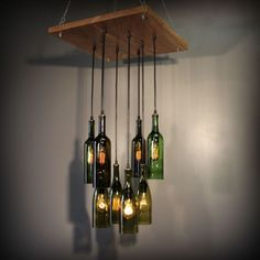 Repurposed Wine Bottle Pendant Chandelier Wood Frame Hanging Lamp Upcycled Light