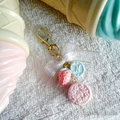 mini oreo  strawberry in pastel with my initial name bag charm