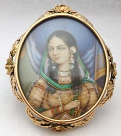 ANTIQUE HAND PAINTED MINIATURE 9K GOLD BROOCH -INDIAN PRINCESS | eBay, 3 inches x 2  5/8 inches., £850.00