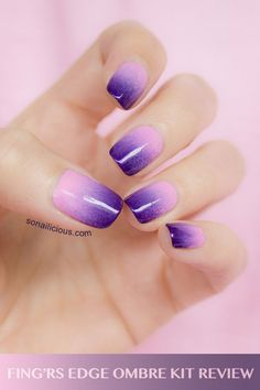 Ombre nails kit - review.  Pastel pink with dark purple gradient nail design