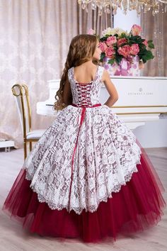 Ball Gown Elegant Kids Formal Lace Flower Girl Dress Pageant Bridesmaid Wedding Communion Party Prom on Luulla Toddler Flower Girl Dresses, White Flower Girl Dresses, Lace Flower Girls, Little Girl Dresses, Baby Dress, Gowns For Girls, Girls Dresses, Lace Burgundy Dress, Girl Dress Patterns