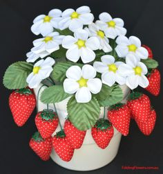 Folded Fabric Flower - Strawberry Flowers and Strawberries at FoldingFlowers.com