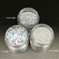 10ML/box 0.2mm,0.4mm, 1mm Fine Holographic Laser Sparkly Silver Nail Art Glitter Dust Powder Hexagon Shape Nail Art decoration