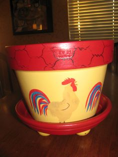Rooster Flower Pot by bubee on Etsy, $20.00