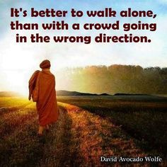It's better to walk alone, than with a crowd in the wrong direction. thedailyquotes.com