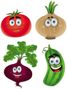 Happy vegetables cartoon vectors