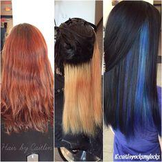 Underlights. Hair process. Start to 1st process to finish. Purple and blue hair. Peacock hair. Galaxy hair. Jewel tone hair. Colorful hair. Dark hair with colors. Blue hair. Oil slick hair. Hidden colors.