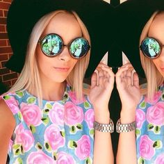 Pretty floral top and round mirrored sunglasses x