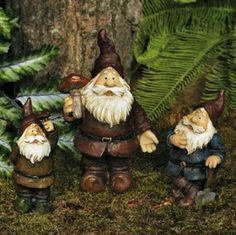SET of 3 CLASSIC Garden GNOMES Statues YARD ART