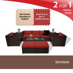 Bahama 8 Piece Outdoor Wicker Patio Furniture Set - Terracotta 08B