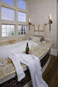 Glamorous Master Bathroom in Hollywood Regency style  - Robert Naik photography contemporary-bathroom