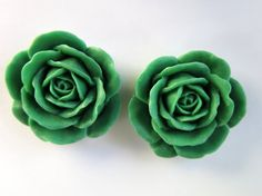 2PCS  38mm Large Green Rose Cabochons  Matte  Resin by ZARDENIA