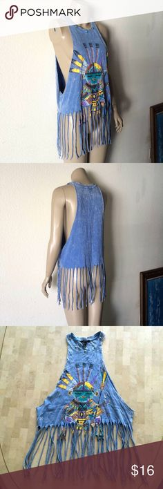 Cut Off Slashed Fringe Turquoise Distressed Top INCREDIBLE vintage-style t-shirt, tank top. Cut-off sleeves w/ wide open, slashed sides. Neckline adorned w/ 5 turquoise stone & silver-tone studs. Bottom is slashed up, cut up, & looks amazing w/ long fringe. Light blue distressed material w/ a light faded, bleached, or stone washed, acid washed look. Features a vibrant print of what looks like a South American native. Very beautiful & abstract. Worn ONCE, in LIKE-NEW CONDITION!! Similar to…