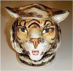 ANTIQUE MAJOLICA TOBACCO JAR HUMIDOR, TIGER HEAD 1890-1900