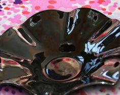 Vintage Black Amethyst Bowl MOD Glassware Bridal Basket, Depression Glass Bowl Mod Glass