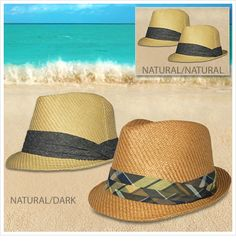 $17.99 2-Pack:Totes Isotoner Stylish Unisex 100% Straw Fedora Hats-Available in M/L and L/XL Sizes!