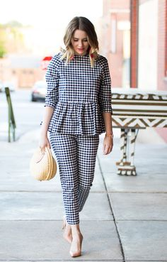 Victoria Beckham for Target Gingham Outfit // Gingham on Gingham Pakistani Dresses Casual, Indian Fashion Dresses, Girls Fashion Clothes, Fashion Outfits, Clothes For Women, Stylish Dresses For Girls, Stylish Dress Designs, Designs For Dresses, Stylish Outfits
