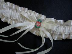 Liverpool Football Club wedding garter of ivory satin-edged organza and the LFC Badge pin