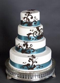 Blue, white and brown wedding cake wedding-things-i-like