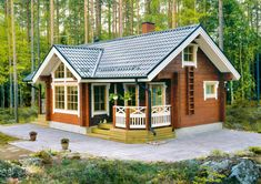 This looks like a cabin in Finland. Love the roof tiles. Cabin Homes, Log Homes, New Urbanism, Cabana, Unusual Homes, Tiny House Movement, Small House Design, Wooden House, Cottage Living