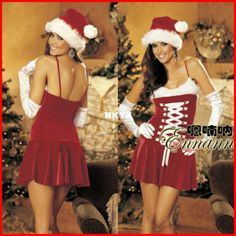 New 2014 Fashion  cosplay maid dress Christmas Santa Claus dress sexy maid outfit ds lead dancer clothing costume costumes