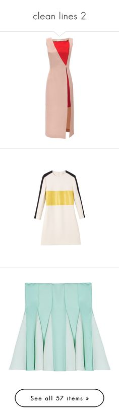 """clean lines 2"" by tealambition ❤ liked on Polyvore featuring dresses, nude, holiday dresses, nude dresses, cocktail shift dress, front slit dress, silk dress, carven, pink dress and skirts"
