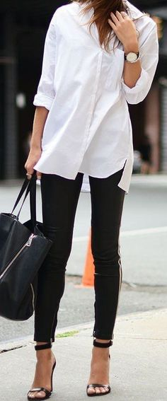 White Shirt / Black Skinny Jeans/ Black Sandals / Black Leather Tote Bag... | Street Fashion