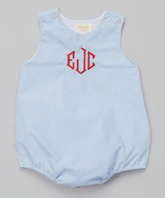 Another great find on #zulily! Light Blue Monogram Bubble Bodysuit - Infant by Rosalina #zulilyfinds