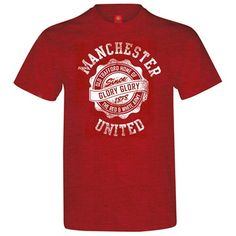 6f48491ab Manchester United Distressed T-Shirt - Antique Cherry Red - Mens Manchester  United T Shirts