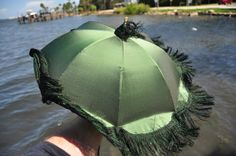 """(Practically) completed restoration of a ca 1845 green silk """"marquis"""" parasol."""