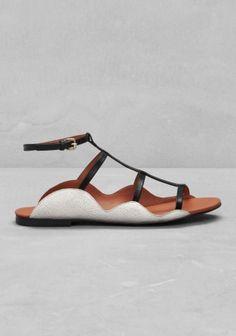And Other Stories | Leather T-strap Sandal | White