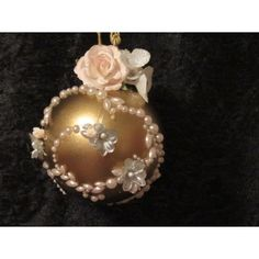 Handcrafted Flowers and Pearls Gold Glass Ball Ornament Handcrafted Christmas Ornaments, Handmade Christmas, Fabric Ornaments, Ball Ornaments, Gold Glass, Glass Ball, Christmas Bulbs, Pearls, Create