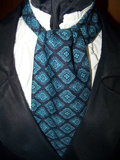 Cravat In A Black and Teal Foral Pattern or Ascot by lavonsdesigns