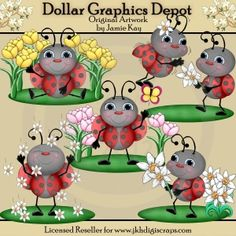 Spring Ladybugs Clip Art Set - Created by Jamie Kay - Great for Printable Crafts, Scrapbooking, Embroidery Patterns, and more!