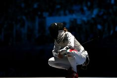 JULY 28: Valentina Vezzali of Italy reacts after losing a point in her Women's Foil Individual Fencing Semi-Final match against Arianna Errigo of Italy on Day 1 of the London 2012 Olympic Games at ExCeL on July 28, 2012 in London, England. (Photo by Hannah Johnston/Getty Images)