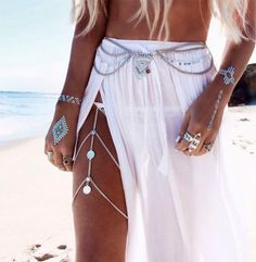 Boho Coin Silver Gold Thigh Leg Chain Waist Thigh Sexy Body Chains Belly Necklace Bracelet on the Leg Accessories Women Jewelry- Look Boho, Boho Style, My Style, Hippy Style, Tribal Style, Festival Looks, Festival Style, Bohemian Mode, Boho Gypsy