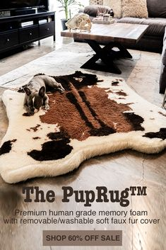 Introducing the PupRug™ Faux Cowhide memory foam dog bed. The world's first memory foam dog bed artfully crafted with a faux fur cowhide cover to bring a rich natural touch to your home decor.