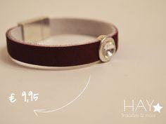 Armband met steen | Diamant/ Bordeaux rood