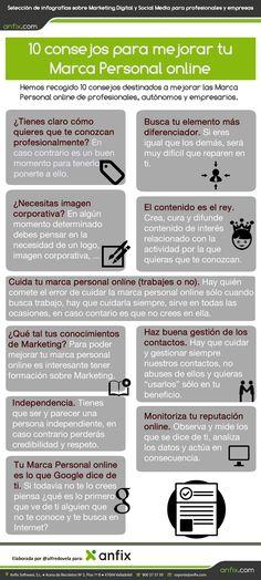 10 consejos para mejorar tu Marca Personal online #infografia #infographic #marketing