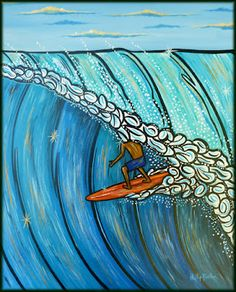 This picture depicts the PERFECT tube ride.  It was painted by Phil in acrylics on a Stretched canvas, ready to hang. It measures 16 x 20 x 1.4″ deep (30 x 50 x 3.5 cm).  (was AU$225 - NOW $200)