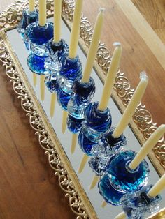 Come and celebrate the Festival of Lights! Add to your Hanukka Home Decor and check out our collection of 9 Magical Menorah DIY Projects! Hanukkah Diy, Feliz Hanukkah, Hanukkah Menorah, Hannukah, Happy Hanukkah, Hanukkah 2019, Hanukkah Decorations, Festa Bar Mitzvah, Mosaic Projects