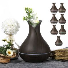 Aroma Essential Oil Diffuser Ultrasonic Air Humidifier with Wood Grain Changing LED Lights electric aroma