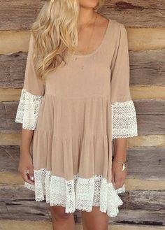 Fashion Flare Sleeve Lace Hem Design Dress