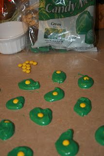 Green eggs made with chocolate and  mini M&M's...cute as favors in a classroom for green eggs & ham by Dr. Seuss