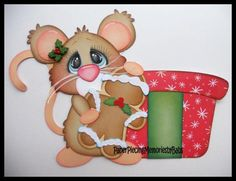 Premade Paper Pieced Gingerbread Mouse for Scrapbook Pages -by Babs
