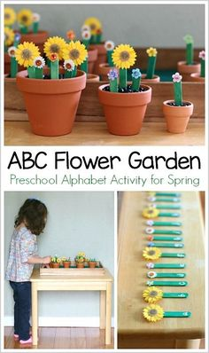 Alphabet Activities for Spring: Alphabet Flower Garden Activity Alphabet Flower Garden Spring Activity for Preschool: Fun, hands-on way to learn the ABC's and name practice! Kids Learning Activities, Spring Activities, Alphabet Activities, Language Activities, Preschool Alphabet, Flower Activities For Kids, Teaching Resources, Preschool Garden, Preschool Literacy