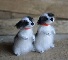 Two Spotted Amusing Dogs - Mohair knitted Dog | Olga Mareeva
