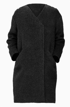 Manteau noir en laine sans col & Other Stories