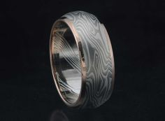 Wide Mens Wedding Band palladium and sterling silver with red gold flush rails by James Binnion