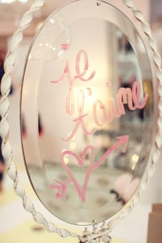 Je T'aime- I love you, always leave a note on your mirror before I leave for work in the morning. Mood Board Inspiration, Wedding Inspiration, Heart Mirror, Mirror Mirror, Mirrors, Ex Machina, Frou Frou, Be My Valentine, Girly Things